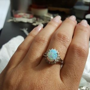 Jewelry - 925 Silver opal ring with cz stones